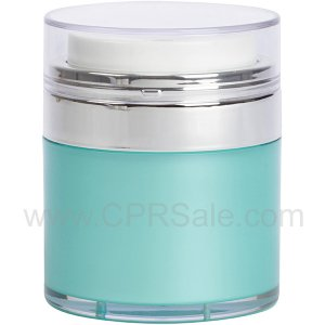 Airless Jar, Clear Cap, Shiny Silver Collar, Teal Blue Body with Natural Inner Cup, 30 mL