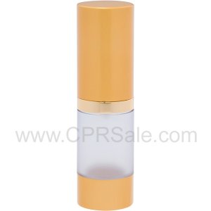 Airless Bottle, Matte Gold Cap, Shiny Gold Collar, Frosted Body, 10 mL