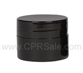 Jar, PP, Round, Black, Straight Sided, with Black Straight Sided Cap, No Liner, 0.25oz, 33mm