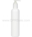 Plastic Bottle, HDPE, Imperial Round, White, 8oz, 24/415 with Natural Lotion Pump