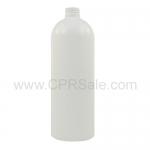 Plastic Bottle, HDPE, Round, White, 32oz