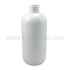 Plastic Bottle, HDPE, Boston Round, White, 16oz
