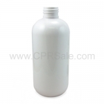 Plastic Bottle, HDPE, Boston Round, White, 8oz