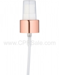 Pump, 20/410, Treatment Pump, Shiny Rose Gold Collar, White Actuator, Clear PP Hood, Diptube Length  = 6 inches