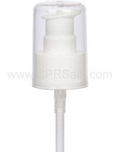 Pump, 24/410, Treatment, White, Smooth with Clear Styrene Hood, Dip tube Length: 7 in