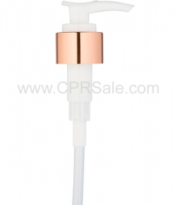 Pump, 24/410, Shiny Rose Gold/White, 2cc. Saddle Head, Diptube Length  = 7 inches