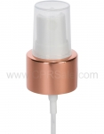 Pump, 24/410, Treatment Pump, Shiny Rose Gold Collar, White Actuator, Natural PP Hood