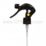 Mini Trigger Sprayer, 24/410, Black, Smooth with Yellow Lock button, Uncut Diptube Length = 6""
