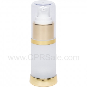Airless Bottle, Clear Cap, Shiny Gold Collar, Frosted Body, 15 mL