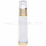 Airless Bottle, Clear Cap, Shiny Gold Collar, Frosted Body, 50 mL