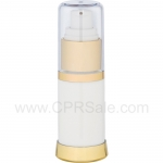 Airless Bottle, Clear Cap, Shiny Gold Collar, White Body, 15 mL