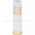 Airless Bottle, Clear Cap, Shiny Gold Collar, White Body, 30 mL