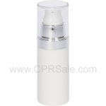 Airless Bottle, Clear Cap, Shiny Silver Collar, Matte White Body, 30 mL