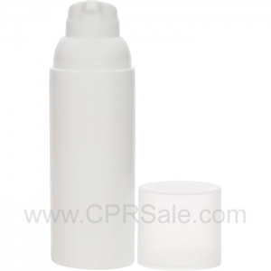 Airless Bottle, Frosted Cap, White Collar, White Body, 50 mL
