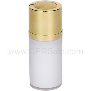 Airless Bottle, Shiny Gold Twist Up Dispenser, White Body, 15 mL
