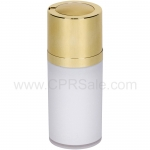 Airless Bottle, Shiny Gold Twist Up Dispenser, White Body, 15 mL