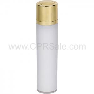 Airless Bottle, Shiny Gold Twist Up Dispenser, White Body, 50 mL