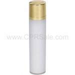 Airless Bottle, Shiny Gold Twist Up Dispenser, White Body, 50 mL