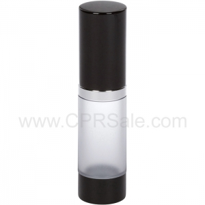 Airless Bottle, Black Cap, Shiny Silver Collar, Frosted Body, 15 mL