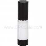 Airless Bottle, Black Cap, Shiny Silver Collar, White Body, 15 mL