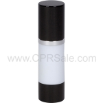 Airless Bottle, Black Cap, Shiny Silver Collar, White Body, 30 mL