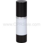 Airless Bottle, Black Cap, Shiny Silver Collar, White Body, 30 mL - Texas