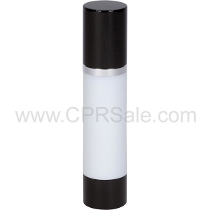 Airless Bottle, Black Cap, Shiny Silver Collar, White Body, 50 mL