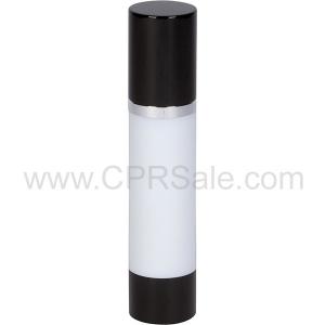 Airless Bottle, Black Cap, Shiny Silver Collar, White Body, 50 mL