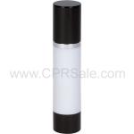 Airless Bottle, Black Cap, Shiny Silver Collar, White Body, 50 mL - Texas