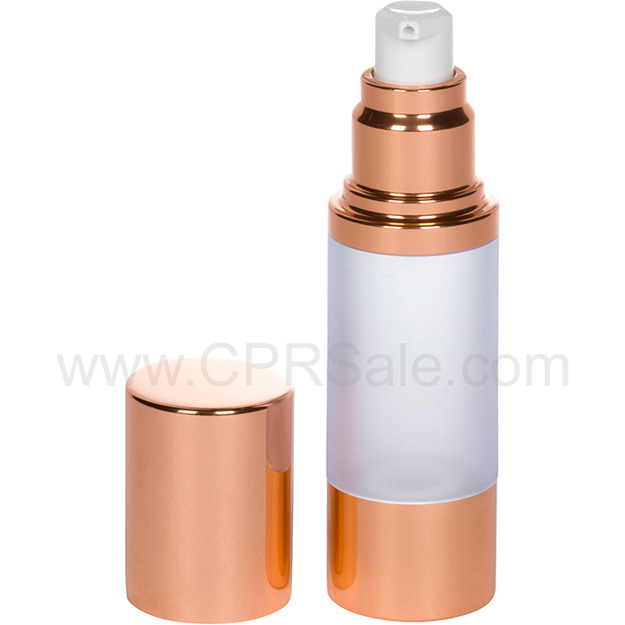 Airless Bottle, Rose Gold Cap, Rose Gold Collar, Frosted Body, 30 mL shown with cap off