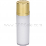 Airless Bottle, Shiny Gold Twist Up Dispenser, White Body, 30 mL
