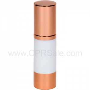 Airless Bottle, Rose Gold Cap, Rose Gold Collar, White Body, 30 mL