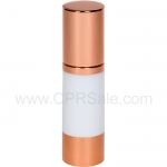 Airless Bottle, Rose Gold Cap, Rose Gold Collar, White Body, 30 mL - Texas
