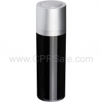 Airless Bottle, Matte Silver Twist Up Dispenser, Black Body, 15 mL