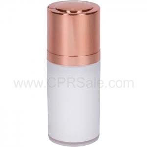 Airless Bottle, Shiny Rose Gold Twist Up Dispenser, White Body, 15 mL