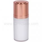Airless Bottle, Shiny Rose Gold Twist Up Dispenser, White Body, 15 mL