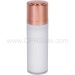 Airless Bottle, Shiny Rose Gold Twist Up Dispenser, White Body, 30 mL