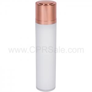 Airless Bottle, Shiny Rose Gold Twist Up Dispenser, White Body, 50 mL