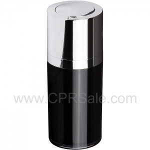 Airless Bottle, Shiny Silver Twist Up Dispenser, Black Body, 15 mL