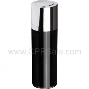 Airless Bottle, Shiny Silver Twist Up Dispenser, Black Body, 30 mL - Texas