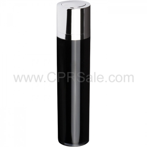 Airless Bottle, Shiny Silver Twist Up Dispenser, Black Body, 50 mL - Texas