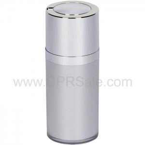 Airless Bottle, Shiny Silver Twist Up Dispenser, Platinum Body, 15 mL