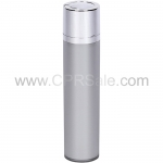 Airless Bottle, Shiny Silver Twist Up Dispenser, Platinum Body, 50 mL