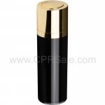 Airless Bottle, Shiny Gold Twist Up Dispenser, Black Body, 15 mL