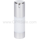 Airless Bottle, Shiny Silver Cap, White Body, 30 mL
