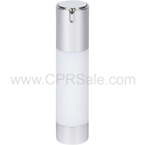Airless Bottle, Shiny Silver Cap, White Body, 50 mL