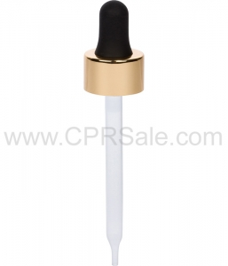 Glass Pipette, 7 x 89mm, Shiny Gold Skirt Dropper with Black Rubber Bulb, 20-400