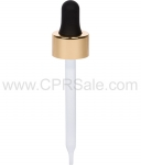 Glass Pipette, 7 x 76mm, Shiny Gold Skirt Dropper with Black Rubber Bulb, 20-400