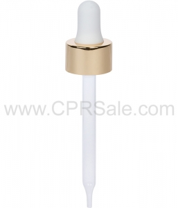 Glass Pipette, 7 x 89mm, Shiny Gold Skirt Dropper with White Rubber Bulb, 20-400