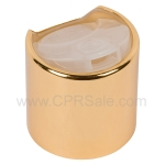 Cap, 24/410, Disc Cap, Shiny Gold Collar with Natural Press Top